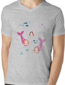 Three Mermaids Mens V-Neck T-Shirt