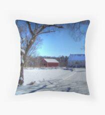 West Virginia Snow Scene Throw Pillow