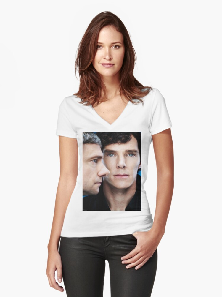 Sherlock and John Women's Fitted V-Neck T-Shirt Front