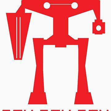 Robot Pew Pew Pew Retro by tidyware
