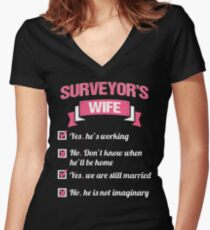 SURVEYOR'S WIFE Women's Fitted V-Neck T-Shirt
