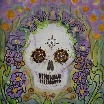 Violet Sugar Flower Scull by JulianaLachance