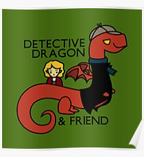detective dragon & friend - sherlock hobbit parody Poster