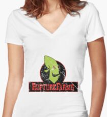 Rupture Farms Grime Women's Fitted V-Neck T-Shirt