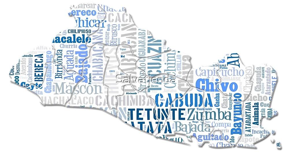 El Salvador mapa con palabras autoctonas by Salvatienda