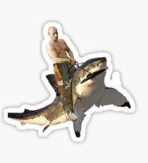 Putin riding a shark Sticker