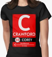 Retro CTA sign Crawford Womens Fitted T-Shirt