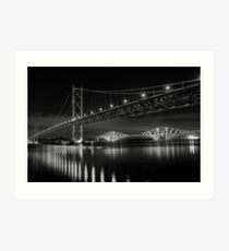 Forth Road and Rail Bridges Art Print