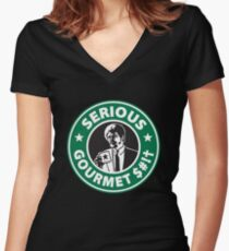 Some Serious Gourmet Coffee (clean) Women's Fitted V-Neck T-Shirt