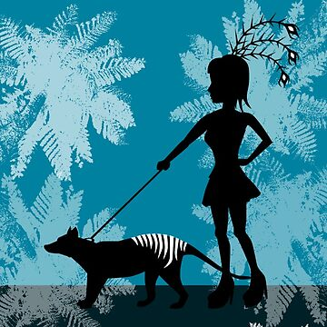 Burlesque girl & Tasmanian Tiger by animatorgurl