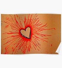 Exploding  Heart Red Poster
