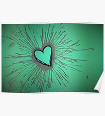 Purple and Green Exploding Heart Poster