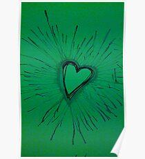Green Exploding Heart Poster