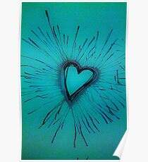 Light Blue Exploding Heart Poster