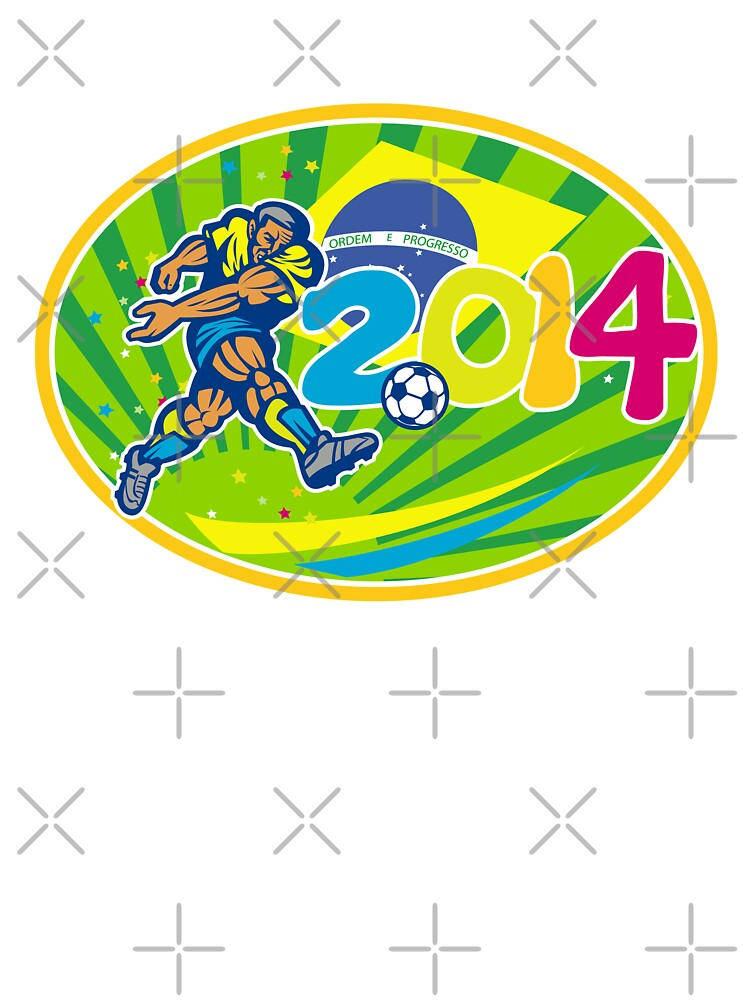 Brazil 2014 Soccer Football Player Kicking Ball by patrimonio