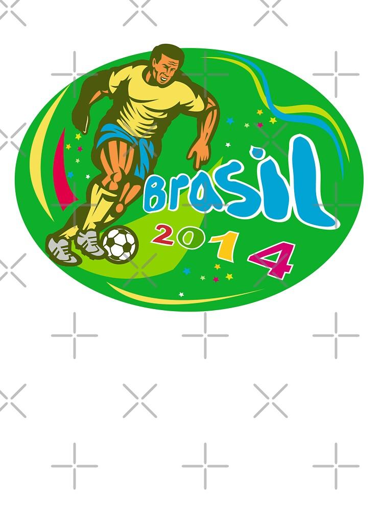 Brasil 2014 Soccer Football Player Run Retro by patrimonio