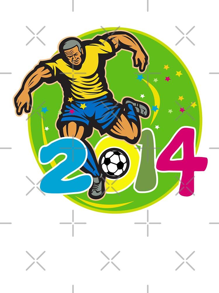 Brazil 2014 Football Player Kick Retro by patrimonio