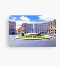 Rome, Italy - Fountain roundabout outside Piazza della Republica Canvas Print
