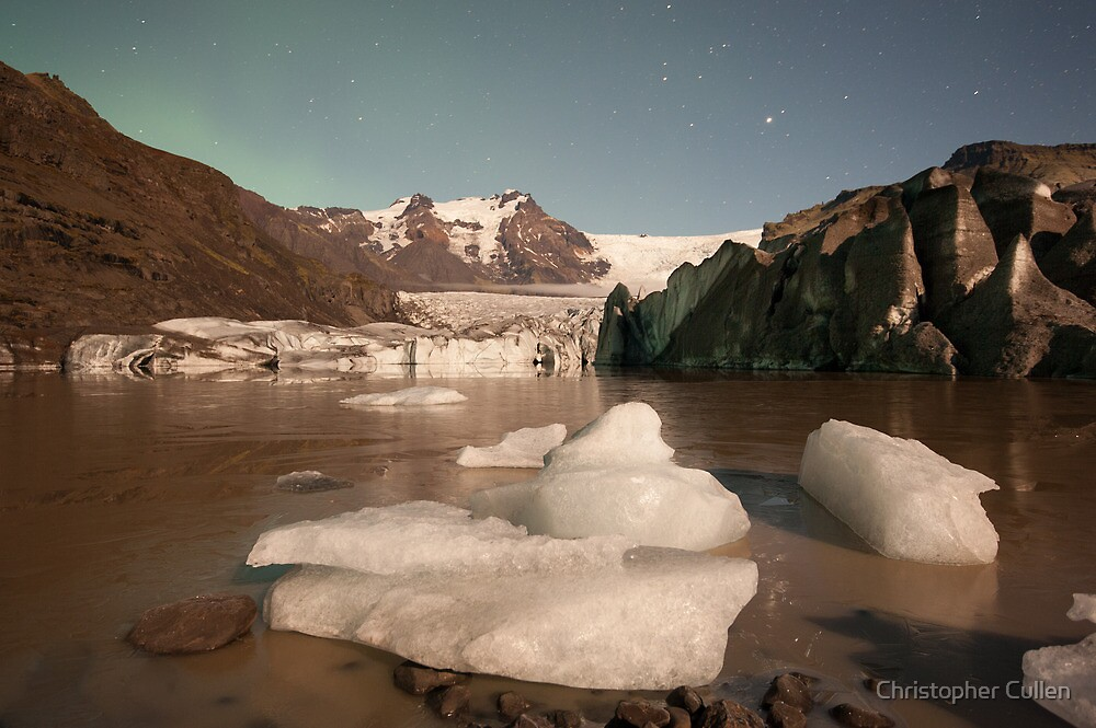 Svinafellsjokul glacier by moonlight by Christopher Cullen