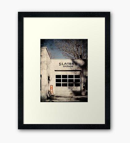 Slaters Garage Framed Print