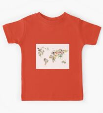 Cartoon animal world map on white background Kids Tee