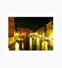 Italy. Venice Night lights Art Print