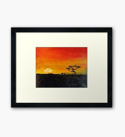 Elephants at Sunrise Framed Print