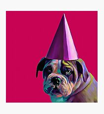 Pink Birthday Pup Photographic Print