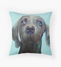 Little Weimaraner Looking Up Throw Pillow