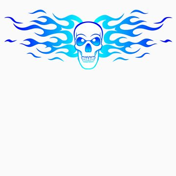 Skull and Flames Blue  by soakedweb