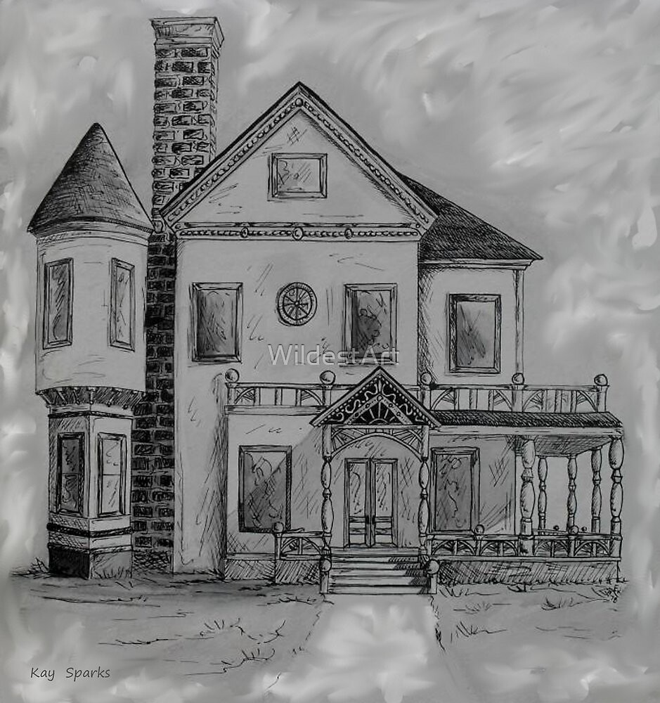 Victorian House in Pen and Ink by WildestArt