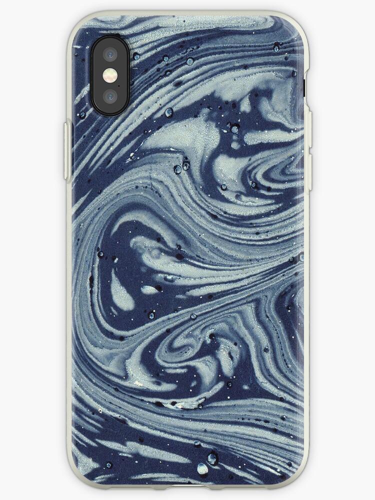 Antique Marbled Paper Blue White by Pixelchicken