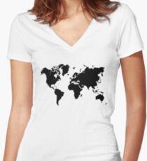 world map monde Women's Fitted V-Neck T-Shirt