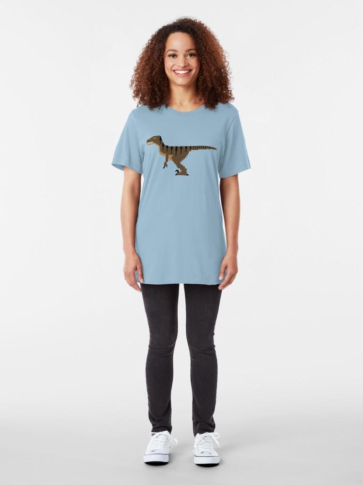 Alternate view of 8-Bit Velociraptor Slim Fit T-Shirt