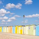 Pretty pastel beach huts by Zoe Power