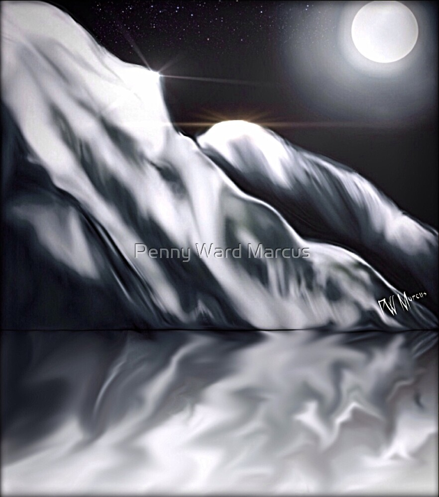Icy Hills Under Moon by Penny Ward Marcus