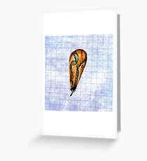 Brown Feather On Graph Greeting Card
