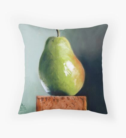 Pastel painting of a pear Throw Pillow