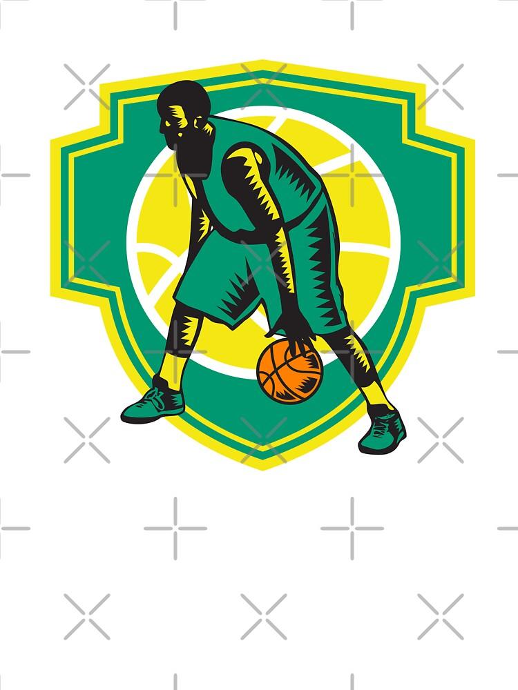 Basketball Player Dribbling Ball Woodcut Shield Retro by patrimonio