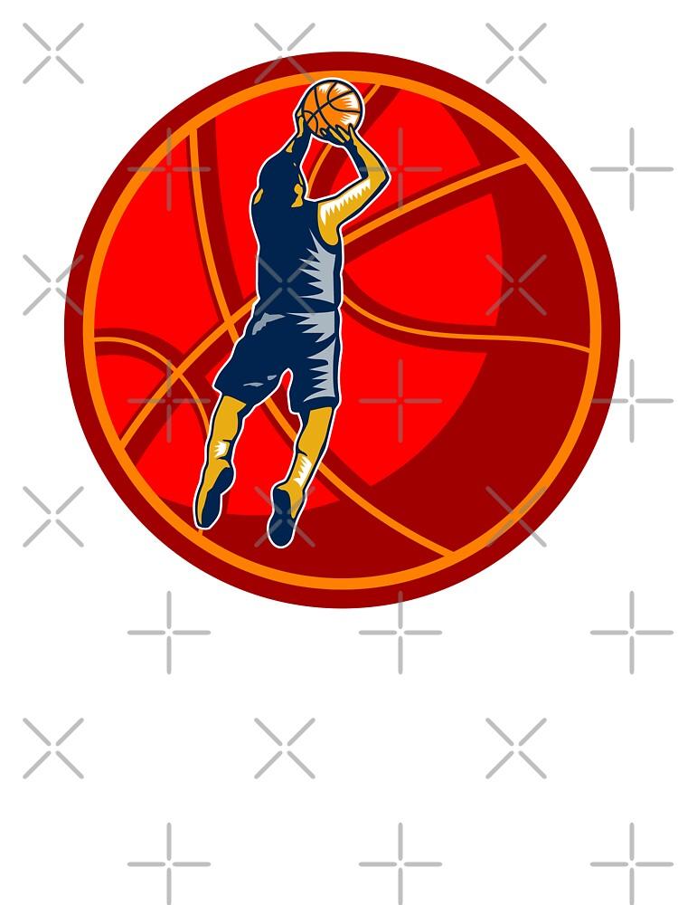 Basketball Player Jump Shot Ball Woodcut retro by patrimonio