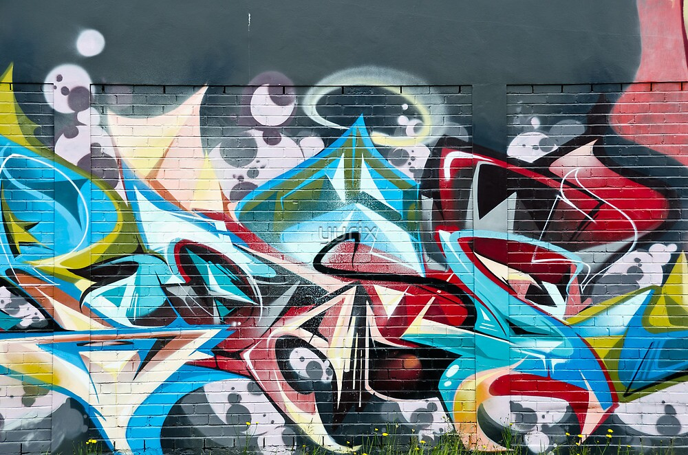 Abstract Graffiti on the brick textured wall by yurix
