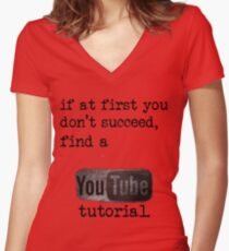 You Tube Tutorial Women's Fitted V-Neck T-Shirt