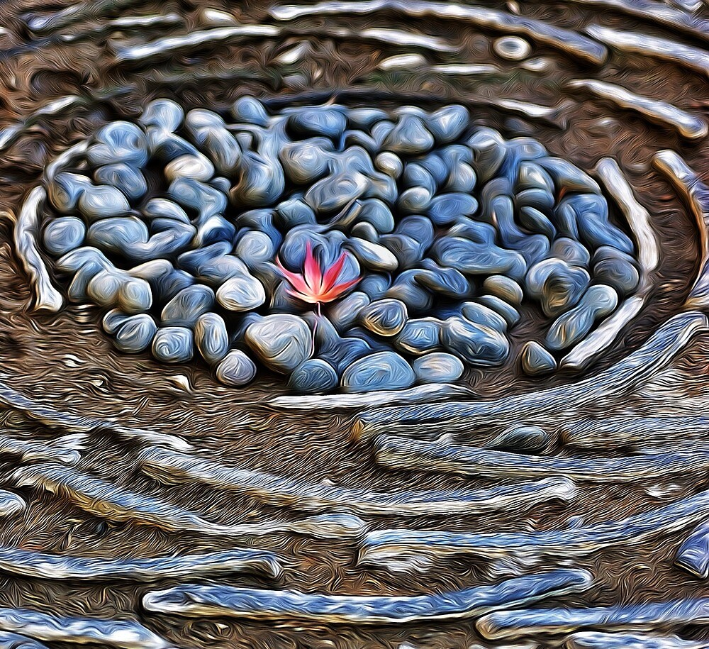 Maple leaf on a pebble path by DerekEntwistle