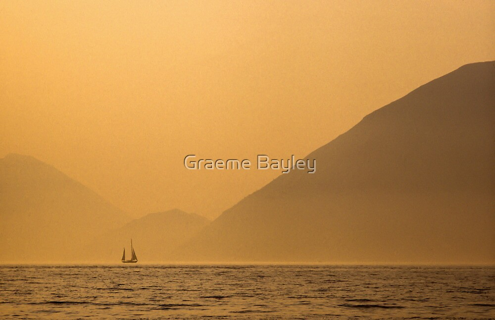 Greek Sunset with Yacht by Graeme Bayley