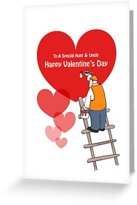 Valentine's Day Aunt & Uncle Cards, Red Hearts, Painter Cartoon by Sagar Shirguppi