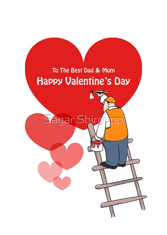 Valentines Day Dad And Mom Cards Red Hearts Painter Cartoon – Valentine Cards for Dad