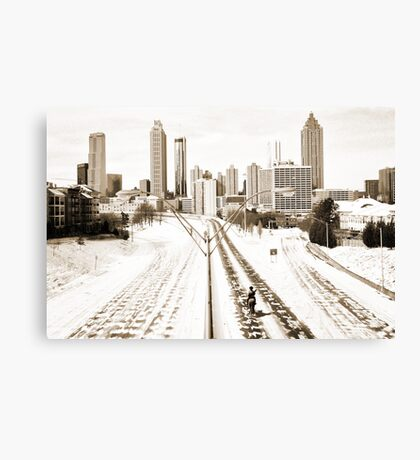 Atlanta Snowpocalypse 2014 - Rick Grimes on Freedom Parkway Canvas Print
