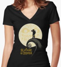 The Nightmare on Termina Women's Fitted V-Neck T-Shirt