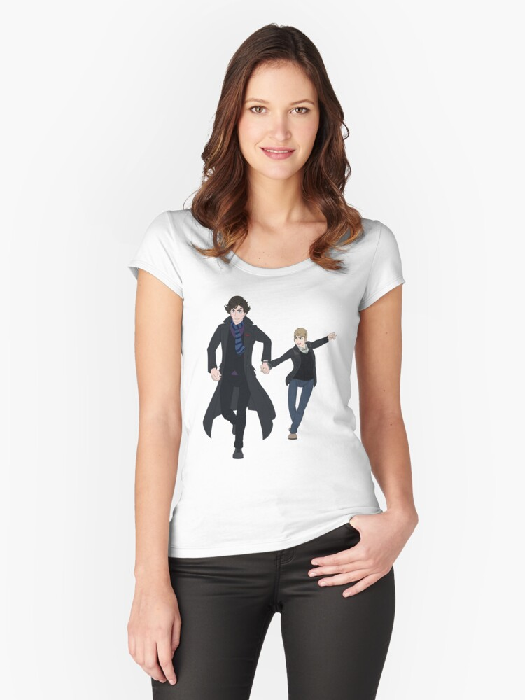Sherlock and John Women's Fitted Scoop T-Shirt Front