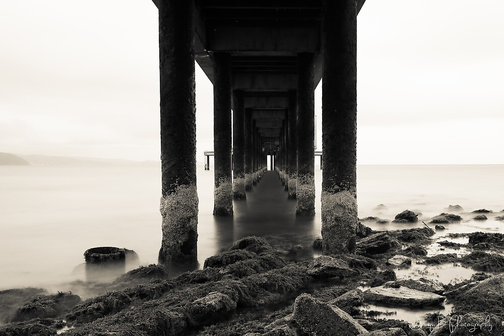 Under the Lorne Pier Black & White by Jacqui Barr